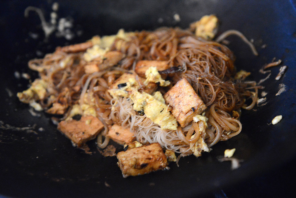 Description of . Tania Barricklo-Daily Freeman  Tofu Pad thai, with the alternative choice of chicken or shrimp.