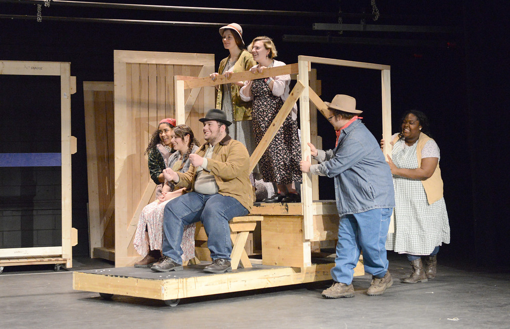 Description of . Tania Barricklo-Daily Freeman                      A rehearsal of the scene when the Joads are traveling from Oklahoma to California in their Jalopy. From left are: Rebecca Rich of Kingston, Abbey Ressa of Saugerties,Daniel DelPriore of Kingston, Rachel Lennox of Woodstock, Victoria