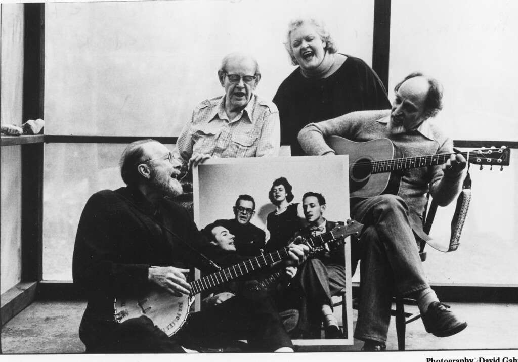Description of . The Weavers: Pete Seeger, Lee Hays, Ronnie Gilbert and Fred Hellerman. David Gahr photo.
