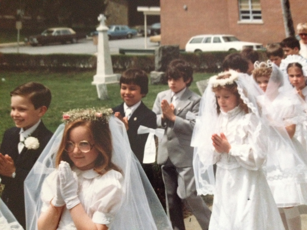 Description of . Jimmy Fallow, far left, during his First Communion. (Photo provided by Maria Gruen)