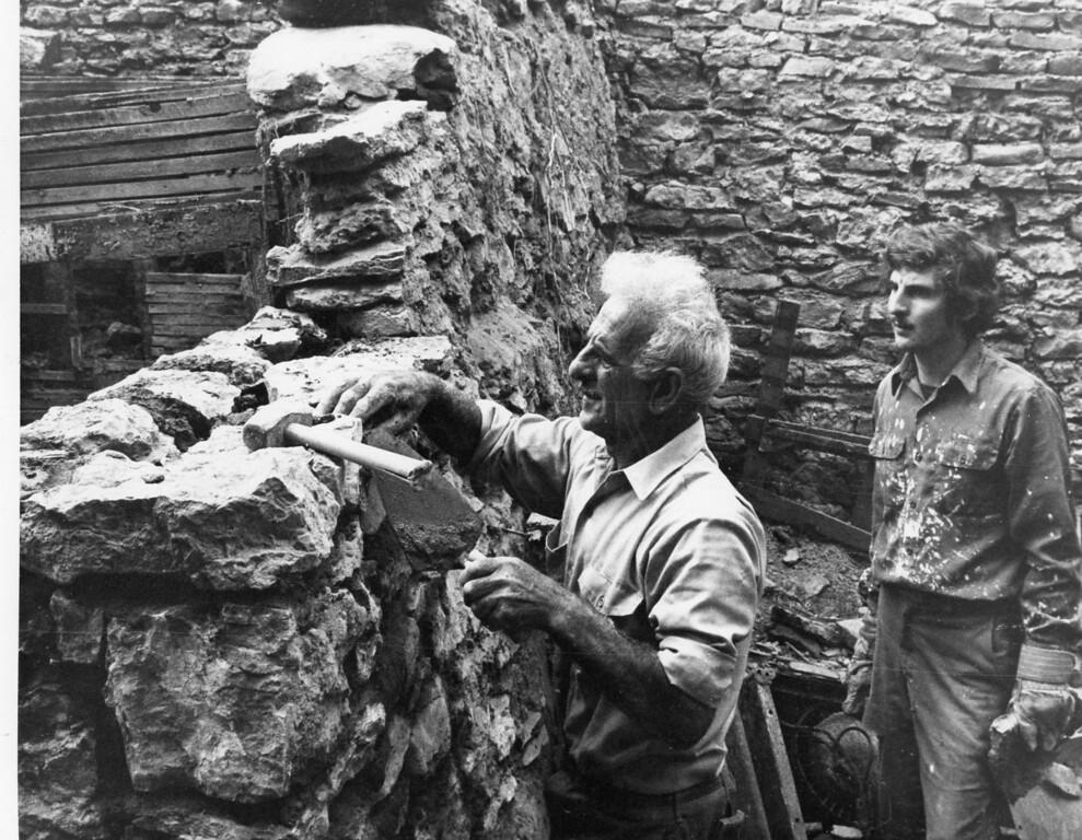 Description of . Stonemason-sculptor Orazio Contini, Aug. 23, 1976. Bob Haines Daily Freeman Archive photo.