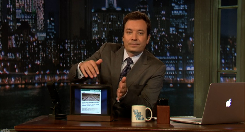 Description of . Jimmy Fallon shares a Daily Freeman headline last year during his