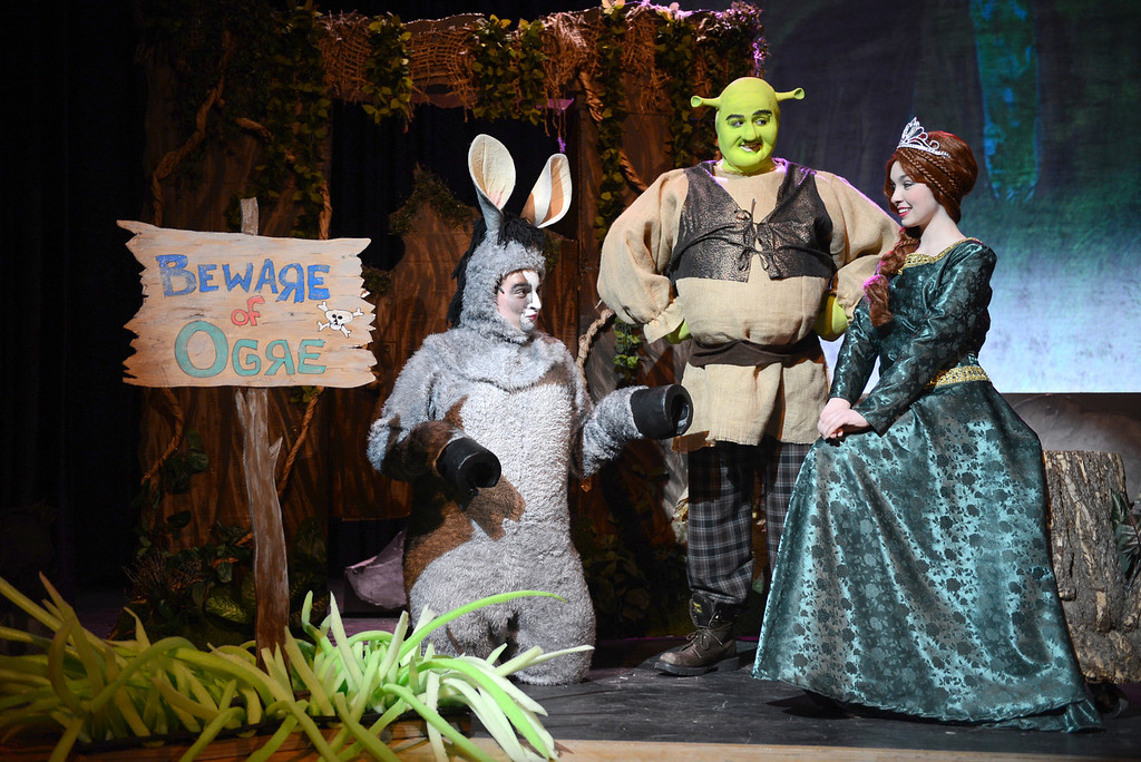 . Tania Barricklo-Daily Freeman                      The musical Shrek with Thomas Netter,16, son of Holly and John of Hurley as the Donkey, left, Thomas Hricisak,18, of Kingston as Shrek, center, and Lily Page, 16, daughter of Sarah and Jim of Rhinebeck as Fiona.