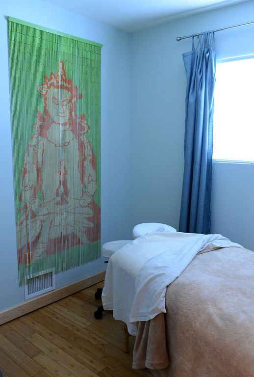 . Tania Barricklo-Daily Freeman                      One of the massge therapy rooms at River Rock Health Spa.