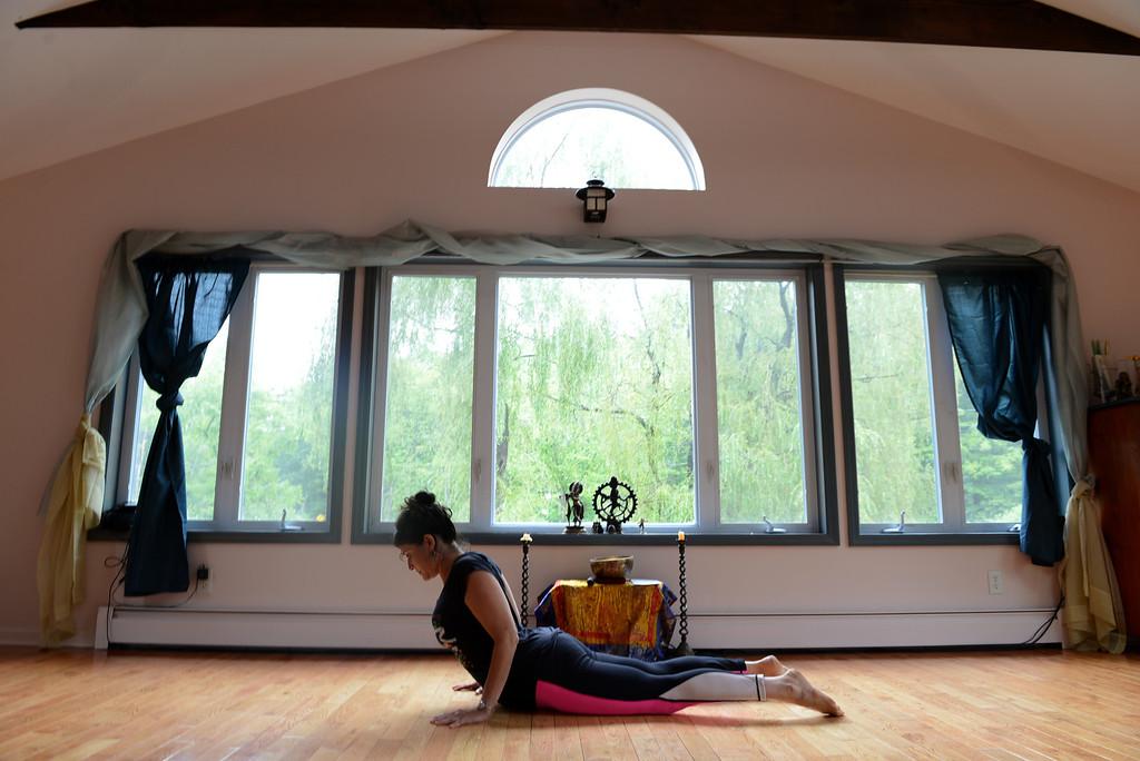 . Tania Barricklo-Daily Freeman Linda Lalita Winnick of Shakti Yoga in her Woodstock studio at 1685 Sawkill Rd.