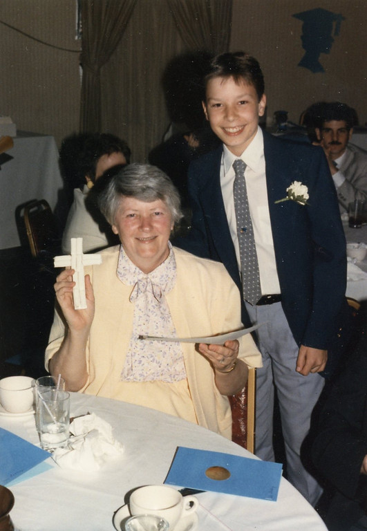 . Jimmy Fallon and then St. Mary of the Snow Catholic School first-grade teacher Anne Fulling. (Photo provided by Maria Gruen)