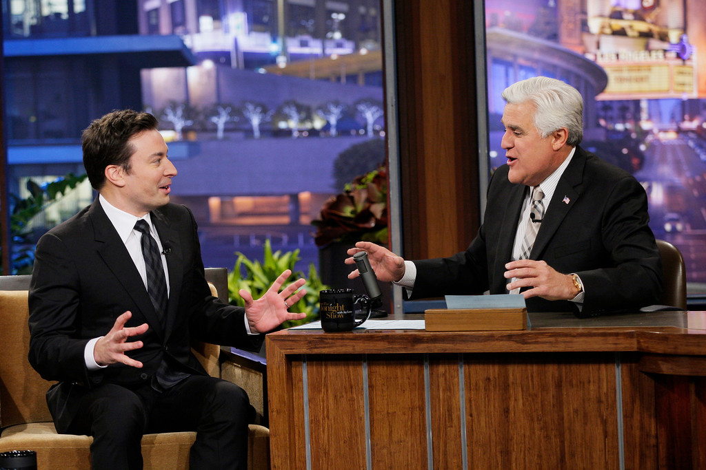 """. This Monday, February 3, 2014 photo provided by NBC shows, Jimmy Fallon, left, and Jay Leno on season 22 of NBC\'s \""""The Tonight Show with Jay Leno.\"""" On Thursday, Feb. 6, 2014, Leno, 63, is stepping down for the second and presumably last time, making way for his successor, Fallon, in New York. Fallon, 39, starts his \""""Tonight\"""" Feb. 17, with NBC hoping he rides the promotional wave of its Winter Olympics coverage. (AP Photo/NBC, Chris Haston)"""